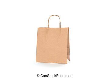Empty paper bag isolated on white background