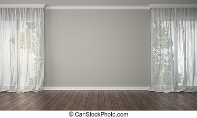 Empty room with two curtains