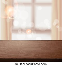 empty wooden table over blurred interior scene