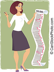 Stressed young woman holding a comically long to-do list, vector illustration