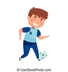 Energetic Schoolboy in Blue Sportswear Engaged in Physical Education Class Vector Illustration