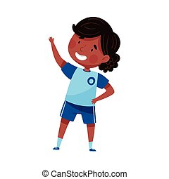 Energetic Schoolgirl in Blue Sportswear Engaged in Physical Education Class Vector Illustration