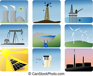 energy icons of various ways to produce energy
