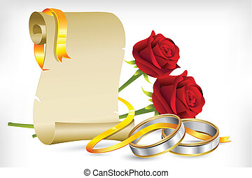 illustration of pair of engagement rings with scroll letter and roses on abstract background