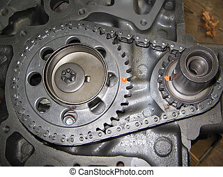 close up of an 8 cylinder timing gear with timing marks