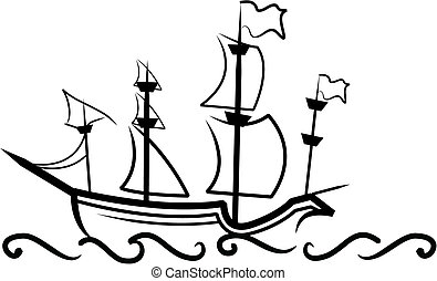 Simple illustration of an old english Great Ship