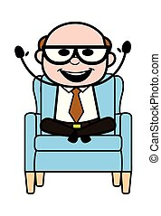 Enjoying - Retro Cartoon Father Old Boss Vector Illustration