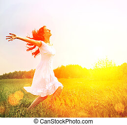 Enjoyment. Free Happy Woman Enjoying Nature. Girl Outdoor