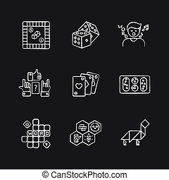 Entertaining games chalk white icons set on black background
