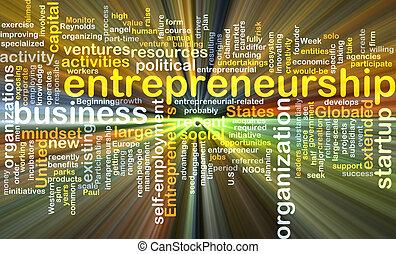 Entrepreneurship background concept glowing