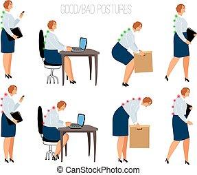 Ergonomic woman postures