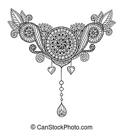 Ethnic floral zentangle, doodle background pattern in vector. Henna paisley mehndi doodles design tribal design element. Black and white pattern for coloring book for adults and kids.