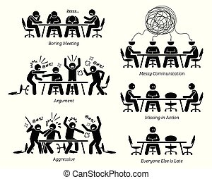 The businessmen have a boring meeting, messy communication, argument, and a fight. Business partner is also late for the meeting.