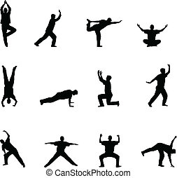 exercise and yoga silhouettes