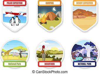 Expedition flat color vector badge set. National park. Antarctica, south pole. Camping and hiking. Trekking on mountain hills. Exloration graphic sticker pack. Tourism isolated cartoon design element