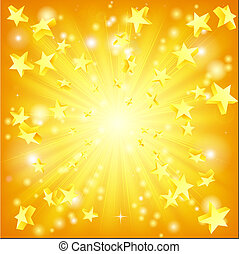 Orange and yellow background with 3d stars flying out.