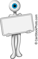 holding a blank sign