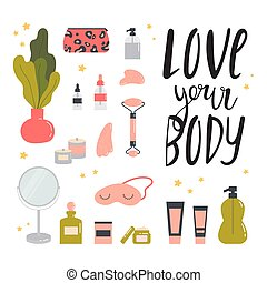 Face and body skin care concept. Beauty routine.