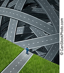 Journey confusion and facing challenges with a businessman at the edge of a cliff in front of a group of tangled three dimensional roads and highwaysas a business concept of planning and managing adversity.