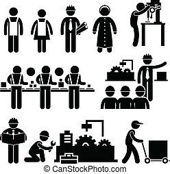 A set of pictograms representing people working in a factory.