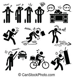 A set of human pictogram representing a fail businessman scenario and problem he faces.