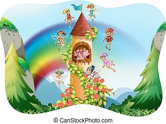 Fairies flying around the castle