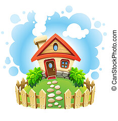 fairy-tale house on lawn with fence vector illustration isolated white background