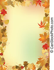 Fall leaves frame with copyspace background. EPS 8 vector file included