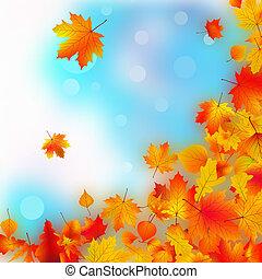 Falling fall leaves.