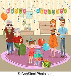 Family Birthday Home Celebration Cartoon Illustration