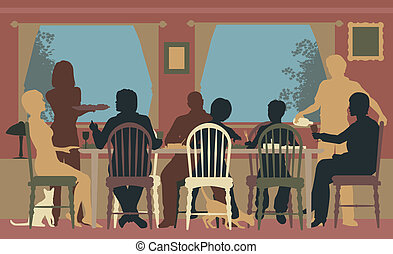 Editable vector colorful silhouettes of a family dining together at home or in a restaurant