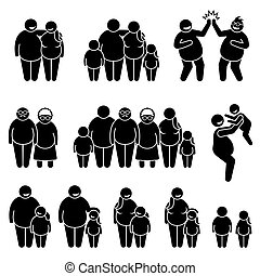 Family of fat obese overweight people standing together stick figure pictogram icons.
