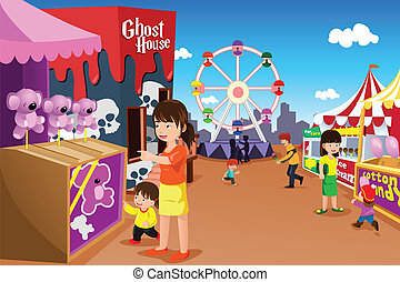 Family playing in an amusement park