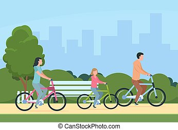 Family riding bikes. Mother, father and children outdoor recreational activity. Vector illustration concept leisure happy people and healthy lifestyle