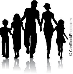 Silhouette of a family walking together