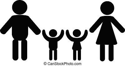 Family silhouette stick figure vector