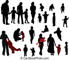 Vector silhouettes of Family (mother, father, boys and girls)