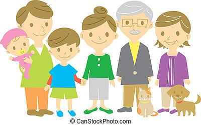 family, smiling, full length, vector