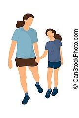Family walking. Mother and daughter holding hands. Woman and girl go to park. People in summer sportswear. Recreation and leisure activity or outdoor workout, vector isolated illustration