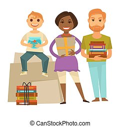 Family with gifts for housewarming party isolated illustration