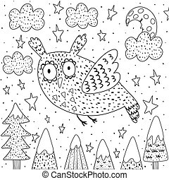 Fantasy owl flying in the sky coloring page
