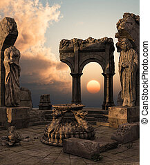3D rendered fantasy ancient temple ruins with statues