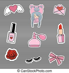 Fashion patch badges with lips, hearts, cute girl and other elements.