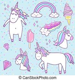Fashion patch badges with unicorns