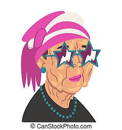 Fashion Senior Woman, Old Lady Character Wearing Trendy Clothes and Sunglasses Vector Illustration on White Background.