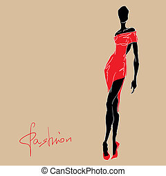 Fashion woman in red dress.