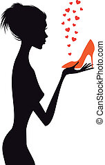 fashion woman with red shoe, vector
