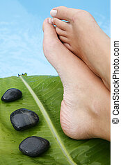 Woman's feet by blue pool with pebbles and tropical leaf