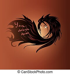 Female hair text background