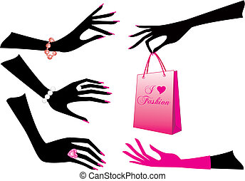 Female hands with jewels and shopping bag, vector